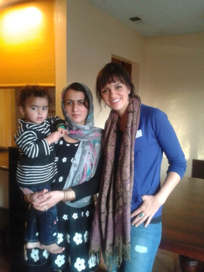 One of the Afghan ladies and her daughter--2 out of a 6 person family we resettled in Sacramento.