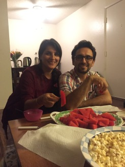Arezoo & Bahram enjoying post dinner snacks